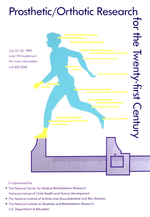 <p>White poster with the figure of a woman in mid-stride.  The figure is in green with one foot on a measuring device.  The foot on the measuring device is yellow and there are yellow lines leading from her body, giving a sense of motion.</p>
