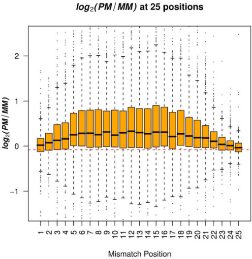 Distribution of log2(PM/MMi) across 25 single-base-pair mismatch positions. The red dashed line represents the mean value of log2(PM/MMi) when there was no mismatch, i.e., the common PM probes from the HGU133plus2.0 GeneChip and the Rhesus macaque GeneChip.