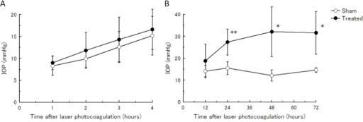 IOP elevation in the acute stage after laser photocoagulation. A: IOPs at 1, 2, 3, and 4 h after laser photocoagulation were measured using a TonoLab. B: IOPs at 12, 24, 48, and 72 h after laser photocoagulation were measured by the microneedle method. Data are mean±standard deviation (SD). n=5–6. The IOP of the treated eyes was significantly higher in each time point compared with the IOP of the sham-operated contralateral eyes by a paired t test. (*p<0.05, ** p<0.01).