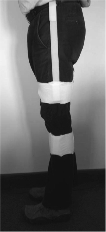 Positioning of the IMUs using Velcro straps on each thigh and shank. The straps could be applied outside clothing.