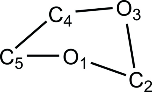 Atom numbering in the 1,3-dioxolane ring.