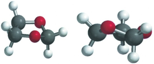 Perspective views of the dioxolane ring with hydrogen atoms as calculated with Spartan. Left: viewed as a distorted envelope. Right: viewed as twist.