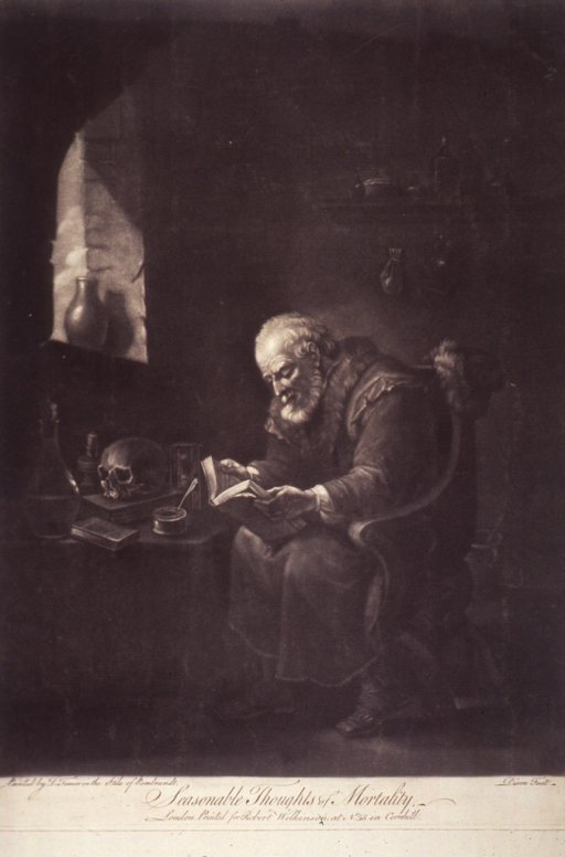 <p>An old man sitting in a chair reading; the light from a window illuminates his face and the book; on a desk against the wall are a skull and some bottles.</p>
