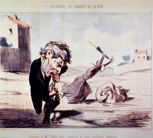 <p>A dentist in the foreground removing a dog's teeth; in the background, a woman, running with closed umbrella raised as if to strike two toothless animals fighting.</p>