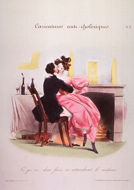 <p>A young couple sitting on a chair before a fireplace, in a romantic embrace.  A table with wine bottles and glasses is to the left.</p>
