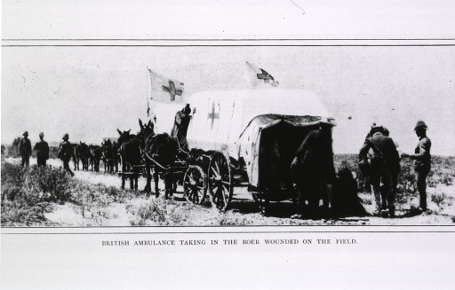 <p>British ambulance taking in the Boer wounded on the field, after the surrender of Gen. Cronje's army at Paardeberg.</p>