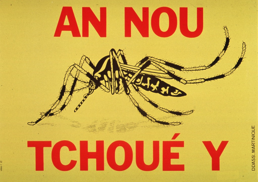 <p>Yellow poster with title in bold red lettering.  Black and yellow drawing of a mosquito dominates poster.  Publisher name and location on right edge with horizontal orientation.</p>
