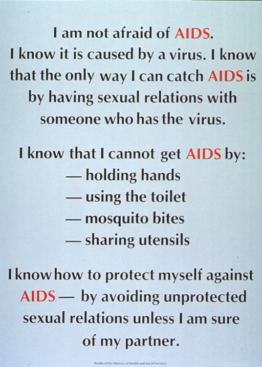 <p>Green poster with black and red lettering.  Title at top of poster.  Title is the first sentence of text that dominates poster.  Text stresses that AIDS is not transmitted through daily activities and the need to avoid unprotected sex.  Publisher information at bottom of poster.</p>