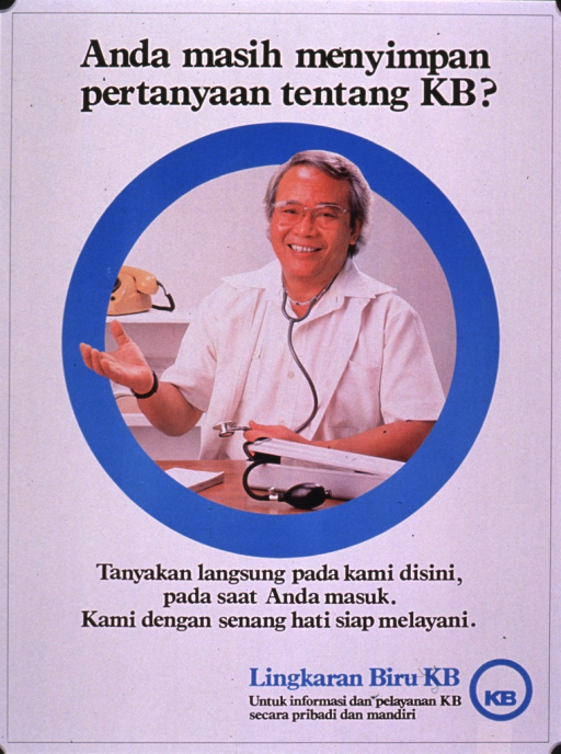 <p>Predominantly white poster with black and light blue lettering.  Title at top of poster.  Visual image is a color photo reproduction featuring a male health worker.  The photo is surrounded by a blue circle.  Caption below photo encourages reader to ask questions of Lingkaran Biru KB.  Publisher information in lower right corner.</p>