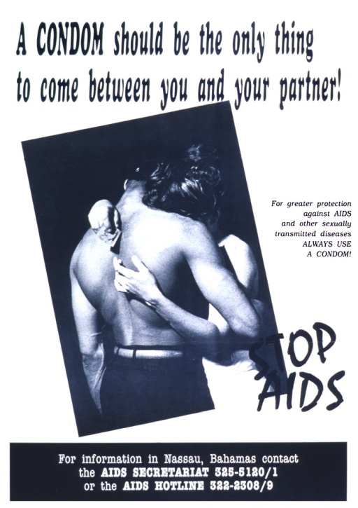 <p>In the center of the poster is a couple hugging, showing the bare back of the man and the woman's arms around him.  In one hand, the woman has an unwrapped condom.  The bottom portion of the poster gives telephone numbers for an AIDS hotline and for the AIDS Secretariat.</p>