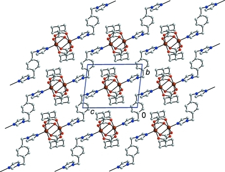 View of the stacking of the layers in the crystal structure of (I). H atoms have been omitted for clarity.