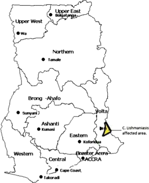 Map of Ghana showing Ho District Outbreak area. | Open-i
