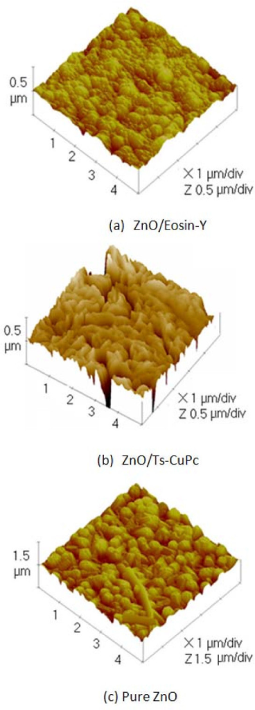 AFM images of nanostructured hybrid ZnO thin films.