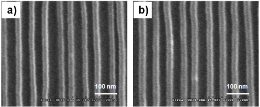 SEM micrographs of imprinted 20- to approximately 30-nm-sized patterns by UV nanoimprint lithography. Using hot-embossed fluorinated polymer-coated PET film (a) imprinted patterns on a flat Si substrate and (b) imprinted patterns on a curved acryl substrate.