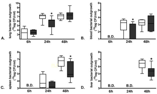 Lower bacterial outgrowth in protease-activated receptor-1 knockout mice in lungs and blood at 24 hours and in spleen and liver at 48 hours after induction of murine pneumococcal pneumonia. Bacterial outgrowth in (A) lung, (B) blood, (C) spleen and (D) liver 6, 24, and 48 hours after induction of pneumococcal pneumonia in wild-type (open bars) and protease-activated receptor-1 knockout (grey bars) mice. Data are expressed as box-and-whisker diagrams depicting the smallest observation, lower quartile, median, upper quartile and largest observation (eight mice per group). * indicates statistical significance as compared to wild-type (P <0.05, Mann-Whitney U test).