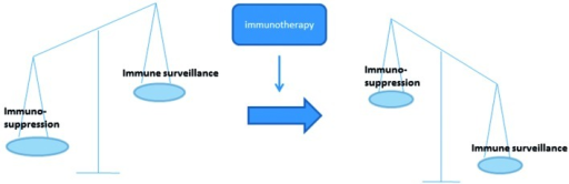 Schematic picture of the immune balance during cancer development and the effect that is hoped for by immunotherapy.
