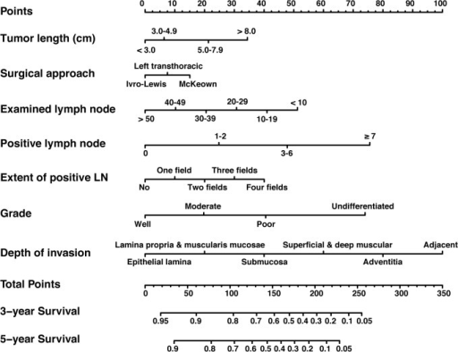 Nomogram for predicting 3-year and 5-year overall survival after radical esophagectomy for esophageal squamous-cell cancer.To calculate the survival rate of each individual patient, points for each of the factors were first identified on the uppermost point-scale, and then the total points from all factors were added up and projected on the bottom point-scale to indicate the probability of 3-year and 5-year survival. Abbreviation: LN, lymph nodes.