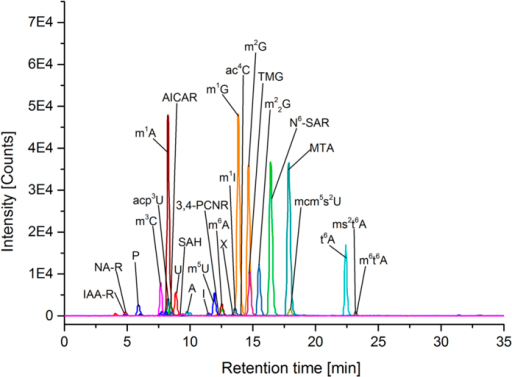Results of LC-MS-MS analysis of supernatant of breast cancer cell line MDA-MB-453 using MRM operating mode showing MRM transitions of quantifier masses of compounds for semi-quantitative analysis(abbreviations are shown in Table 2).