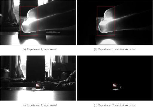 Example images for Experiment 1 (short-distance monitoring) and Experiment 2 (long-distance monitoring).The unprocessed frames (first column) contained uncontrolled ambient illumination (windows, overhead lights, etc.) as well as controlled active LED illumination near the fingers. Ambient correction using TCI (second column) removed the contribution of ambient illumination to the scene, yielding transmittance due solely to active LED illumination of which the spectral and power characteristics are known. See Video 1 and Video 2 for video results of ambient correction with varying illumination.