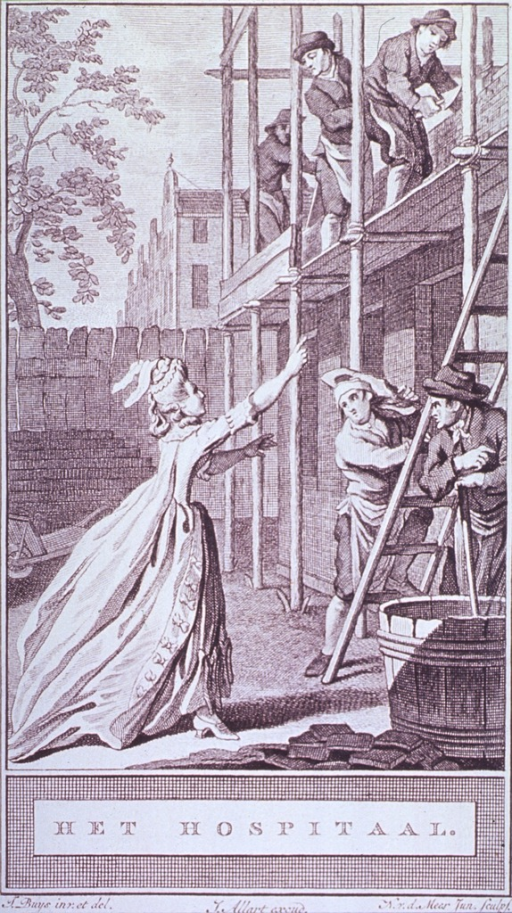 <p>A woman is pointing towards bricklayers on a scaffold; a hod carrier is starting up a ladder; and a man, the cement mixer, leans on a stick over a large vat.</p>