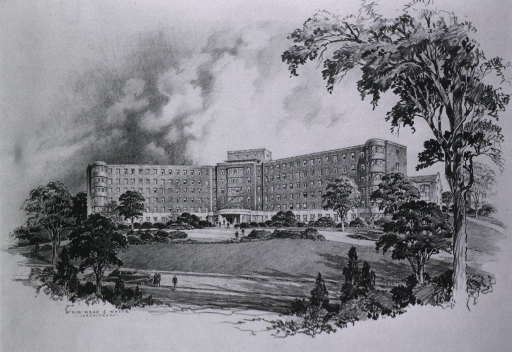 <p>Architect's drawing of building, opening 1952.</p>