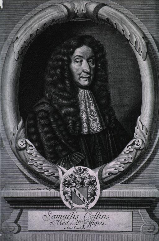 <p>Head and shoulders, right pose, at age of 67, in oval.  Coat-of-arms.</p>