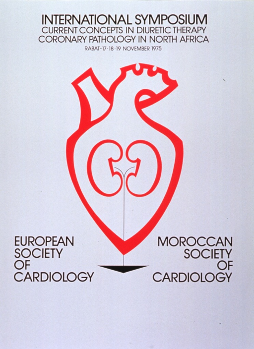 <p>White poster with black lettering announcing symposium in Rabat, Morocco, November 1975.  Title at top of poster.  Dominant image on poster is a red abstraction of a heart with two centrally placed kidney-bean shapes.  Thin black lines emerge from each shape and join into one line that runs down through the heart and into a black triangle.  The triangle sits between the names of the two societies involved in the symposium.</p>