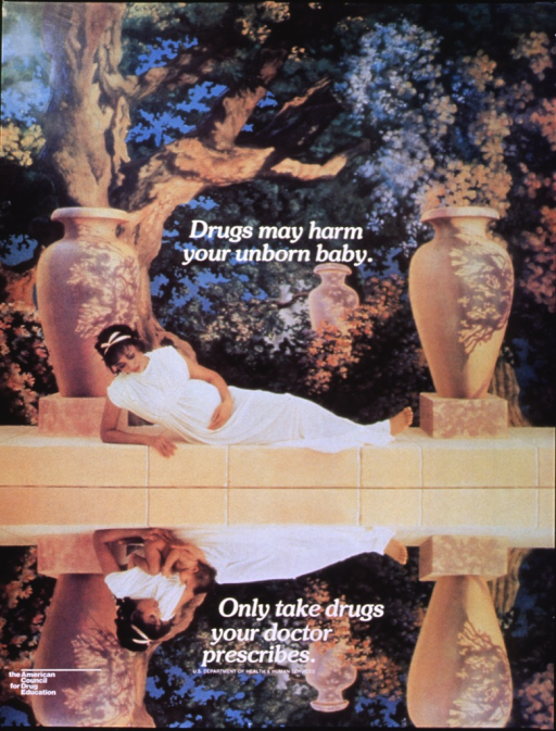 <p>Multicolor poster with white lettering.  Initial title words near center of poster.  Remaining title words near bottom of poster.  Visual image is either a reproduction of two color photos or a manipulated reproduction of one photo.  The image in the upper portion of the poster shows a woman, dressed in a flowing white gown suggestive of ancient Greek or Roman costume, reclining by a pool.  The background appears to be a screen painted to resemble an outdoor setting, with three large decorative urns.  The woman is pregnant and she looks thoughtfully at her reflection in the pool.  Her reflection, in the lower portion of the poster, is not a precise mirror image.  The woman in the reflection cradles a healthy infant.  Sponsor listed in lower left corner.</p>