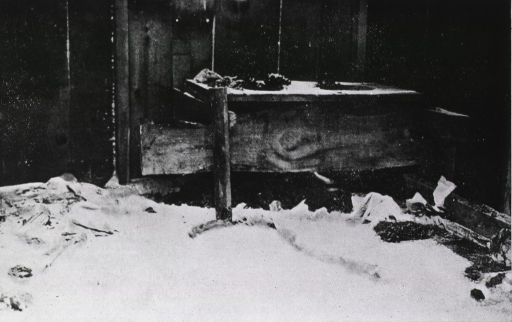 <p>Interior view of shed showing crudely constructed toilet facilities shared by several families, &quot;one of which was a typhoid fever patient.&quot;</p>