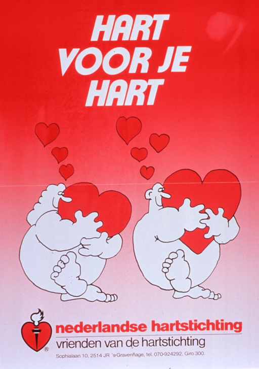 <p>Predominantly red poster with multicolor lettering.  Title at top of poster.  Visual image is an illustration of a chubby, stylized man and woman, both hugging a stylized heart.  Additional hearts float up from their heads, as if to symbolize love.  Publisher logo and information below illustration.  Note below publisher information urges supporting the heart foundation.</p>