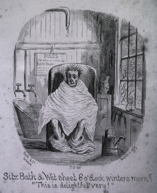 <p>A man at the water cure is sitting in a sitz bath wrapped in a wet sheet with his trousers around his ankles.  A watering can is next to him.  In the background is a bath tub.</p>