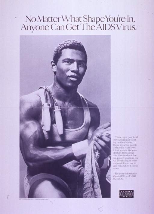 <p>Predominantly white poster with black lettering.  Title at top of poster.  Visual image is a b&amp;w photo reproduction featuring a very muscular man.  A jump rope hangs over his shoulder and he glistens with sweat.  Caption and note to right of photo.  Publisher information below photo.</p>