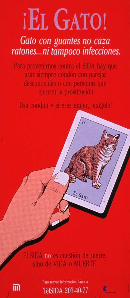 <p>Predominantly red poster with multicolor lettering.  Title at top of poster.  Lengthy caption below title urges condom use to prevent AIDS.  Visual image is an illustration of a hand holding a card suggestive of a tarot card; the card features a cat.  Note below illustration states that AIDS is not a question of luck, just life or death.  Hotline number and publisher information at bottom of poster.</p>