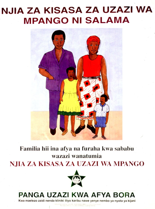 <p>Predominantly white poster with multicolor lettering.  Title at top of poster.  Visual image is a color illustration of a four-member family.  Caption below illustration states that the family is healthy and happy because the parents used modern methods of family planning.  Note and publisher information at bottom of poster.</p>