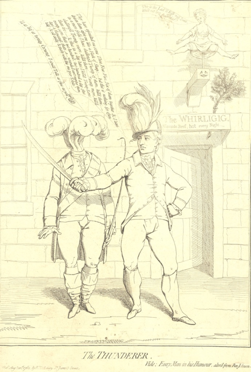 <p>Print shows a caricature of a man brandishing a sword and boasting of his exploits to the Prince of Wales outside &quot;The Whirligig,&quot; a brothel.  Gillray has depicted the man with the sword as enacting the part of Captain Bobadil in Ben Jonson's play &quot;Every man in his humour.&quot;  A miniaturized courtesan is shown spinning on a whirligig above the door to the brothel.</p>