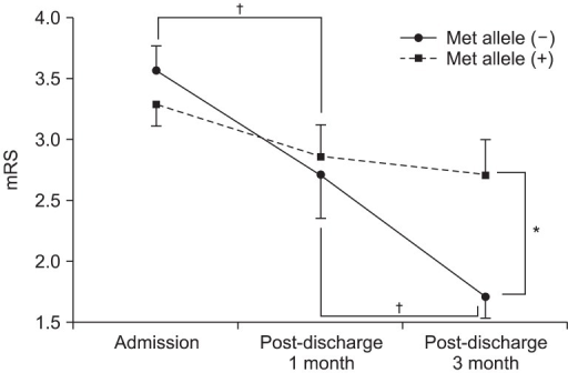 Modified Rankin Scale (mRS) on admission to the rehabilitation unit, at 1 month post-discharge and 3 months post-discharge according to the presence of the Met allele. *p<0.017 with Bonferroni correction by student's t-test, †p<0.025 with Bonferroni correction by paired t-test.