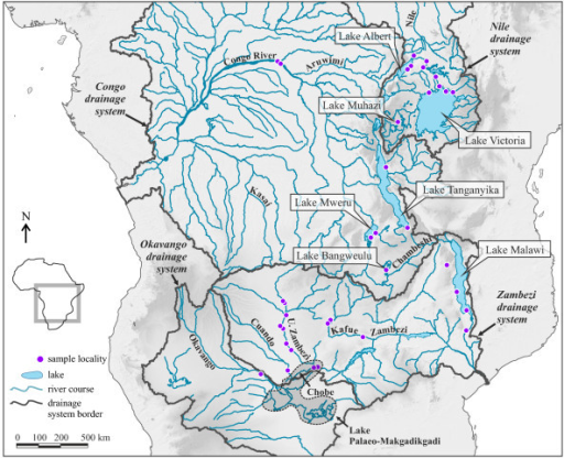 Zambezi River On Map Of Africa.Map Of Tropical Africa With Major Drainage Systems The Open I
