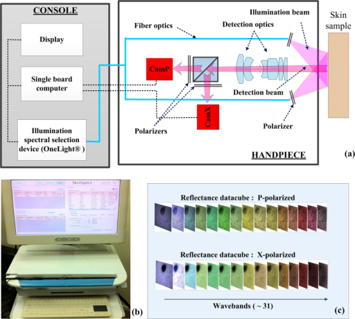 (a) SkinSpect research prototype system diagram and the (b) SkinSpect console; (c) SkinSpect data output includes reflection images over the range from 467 nm to 857 nm, in parallel and cross polarization modes.