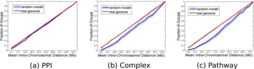 Intra-chromosomal distances. The plot shows the average intra-chromosomal distance between genes from the same group in the real (red) and randomized (blue) genomes. (a) PPIs; (b) Complexes; (c) Pathways. Bins were selected so that the occupancy of pairs from the real genome is uniform (hence the straight red line). The clustering effect is reflected by the larger cumulative fraction in the real genome histograms compared to the random model in the smaller distance bins. The light blue shaded region around the blue curve stands for ±1 standard deviation.