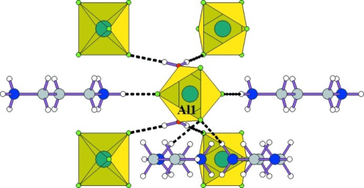 The environment of the AlF4(H2O)2 octa­hedron. Dashed lines denote hydrogen bonds.