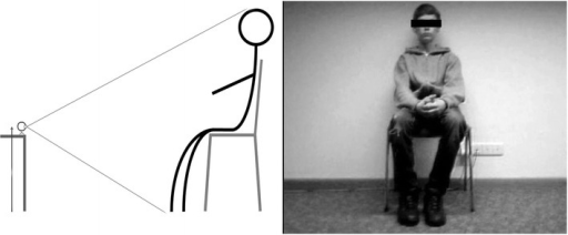 Webcam recording setting. Figure 1 shows the general setup used to record movement. The camera adjustment is shown on the left. The distance to each subject was detected by barely capturing the scalp and feet while placing the camera on a table approximately 50 cm above the ground. On the right side, a picture of a sequence is shown. The camera was adjusted so that each subject was sitting roughly in the middle of the frame