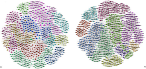 Multi-brain networks.Communities, marked by different color, of nodes in the whole multi-brain network in stimulus1 (a), and stimulus11 (b). The nodes' labels comprise the unique list of 882 scalp locations of all participants, as explained in the caption to Fig 10.