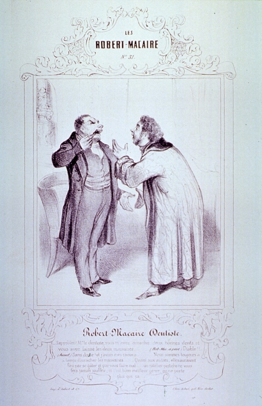 <p>A man complaining to the dentist that he has extracted two good teeth instead of the two causing him pain; the dentist, standing before him, explains that he did so for sound reasons.</p>