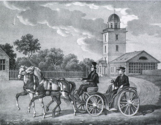 <p>Full length, seated, left pose; riding in carriage, driver and dog present; church in background.</p>