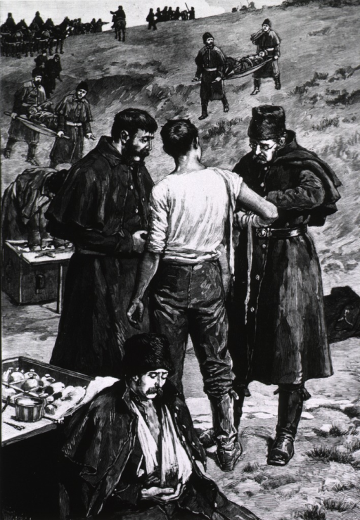 <p>The Riel rebellion [in Saskatchewan] wounded carried to the rear from the fight at Fish Creek.  Several patients on stretchers.</p>