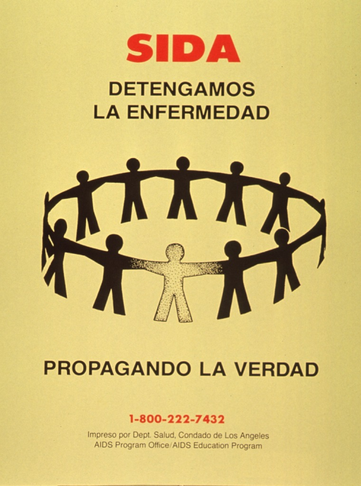 <p>Yellow poster with red and black lettering.  Initial title words at top of poster.  Visual image is an illustration of a circle of abstract human figures.  Remaining title words below illustration.  Publisher information at bottom of poster.</p>