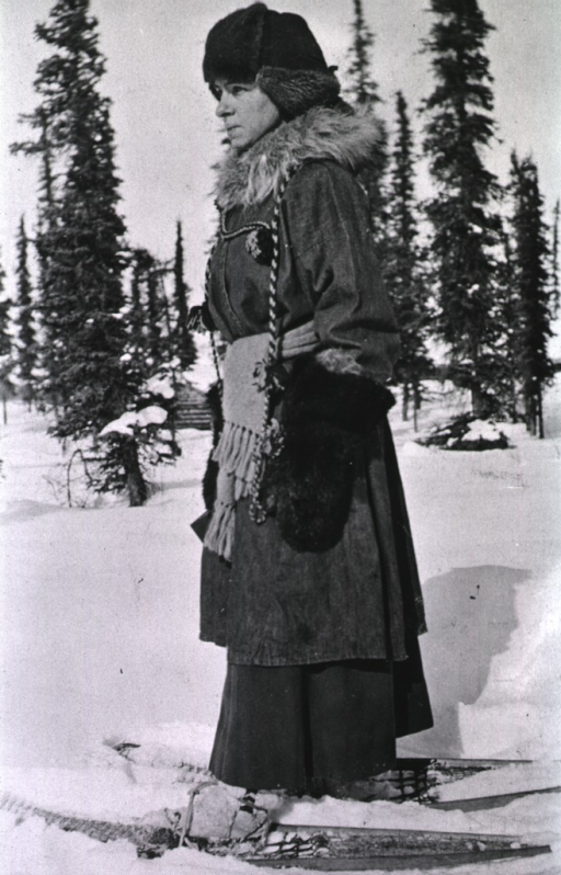 <p>Showing a nurse using snowshoes as a mode of transportation.</p>