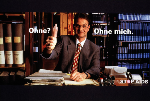 <p>Multicolor poster with white lettering.  Entire poster is a reproduction of a color photo showing a man sitting at his desk, surrounded by books and papers.  Title superimposed on poster, one phrase on each side of the man's head.  The man makes a &quot;thumbs up&quot; gesture at the end of the first title phrase.  His thumb is covered with a condom.  Title and image combined imply that without a condom, the man will not have sex.  Note and publisher information in lower right corner.</p>