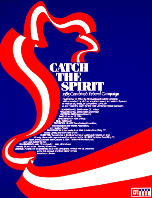 <p>Blue poster with white print illustrated with a red and white wavy banner and, in the lower right corner, the logo of CFC.  The poster announces the launch of the campaign on Oct. 15, with the starting point, distances, categories, registration, entry fees, and awards of a run and walk competition.</p>