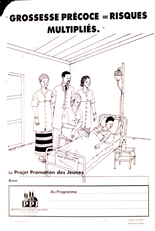 <p>White poster with black lettering.  Title at top of poster.  Visual image is an illustration of a young pregnant woman lying in a hospital bed and receiving an I.V.  Several health workers stand near her bed.  Space for local contact information below illustration, though none provided.  Publisher and sponsor information near bottom of poster.</p>